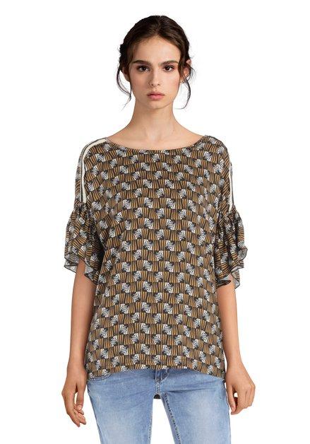 Bruine blouse met volants aan de mouwen