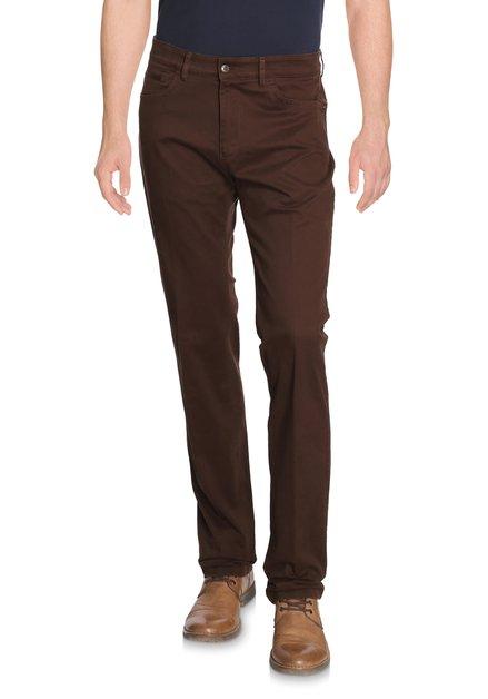 Bruine broek met miniprint Detroit - regular fit