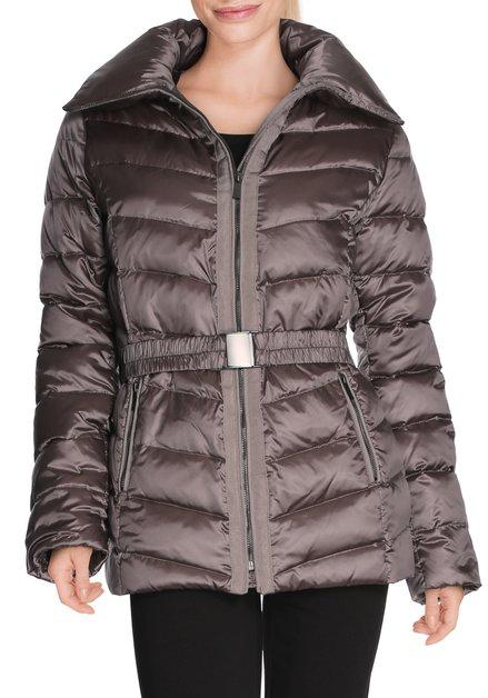 Bruine gematelasseerde jas met echte dons
