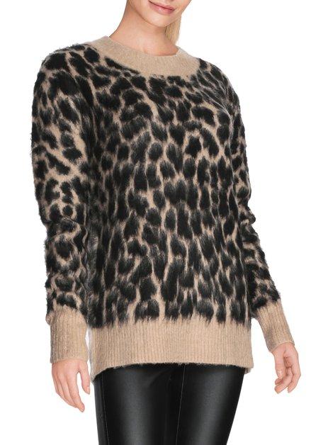 Bruine pull met zwarte luipaardprint