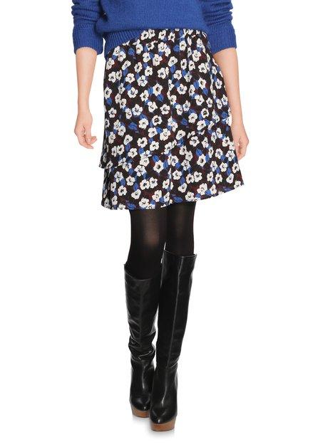 Bruine rok met ecru bloemen