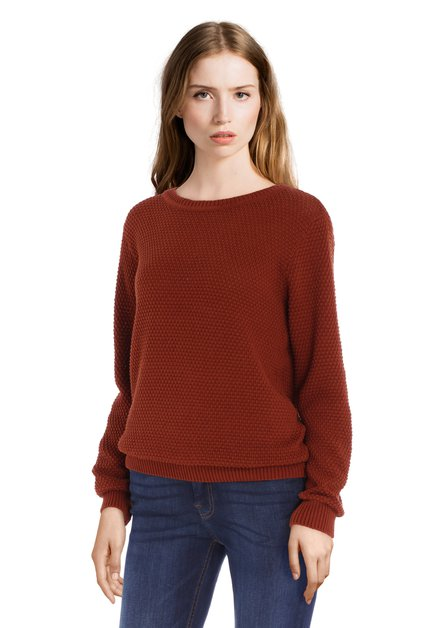Bruine trui met in tricot