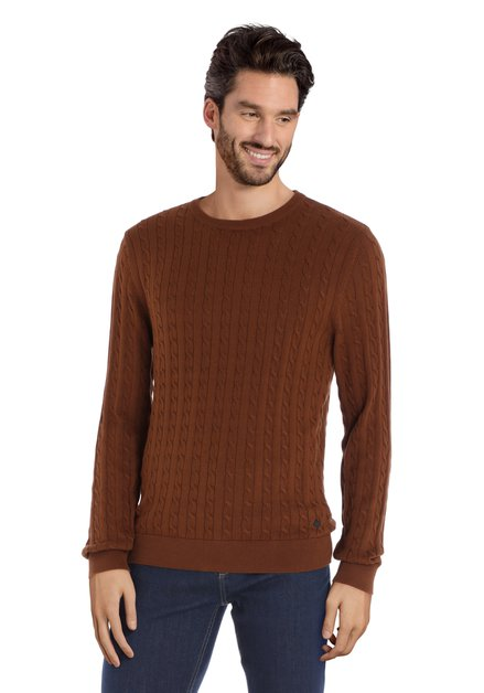 Bruine trui met ronde hals en kabelmotief