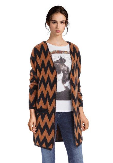 Bruine wollen cardigan met zwarte print