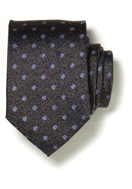 Bruine zijden das met lichtblauwe bolletjes