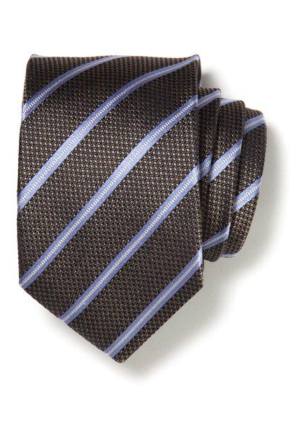 Bruine zijden das met lichtblauwe strepen
