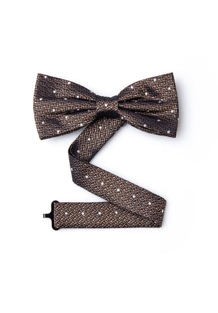 Bruine zijden strikdas met stippen