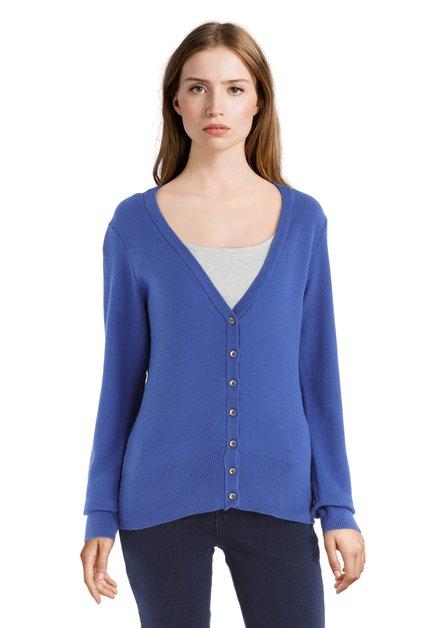 Cardigan bleu en tricot à encolure en V