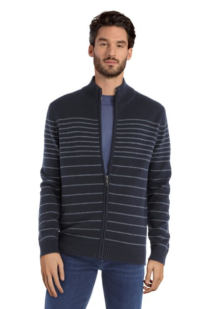 Cardigan bleu foncé à rayures en coton