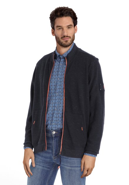Cardigan bleu marine avec tirette orange fluo