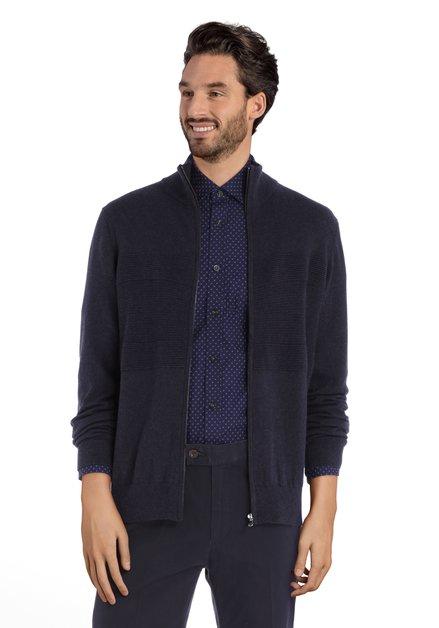 Cardigan bleu marine en laine avec tissu structuré