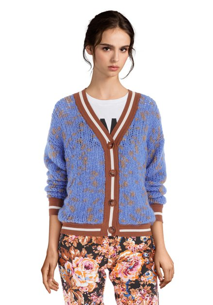 Cardigan bleu poudré avec bordure brune
