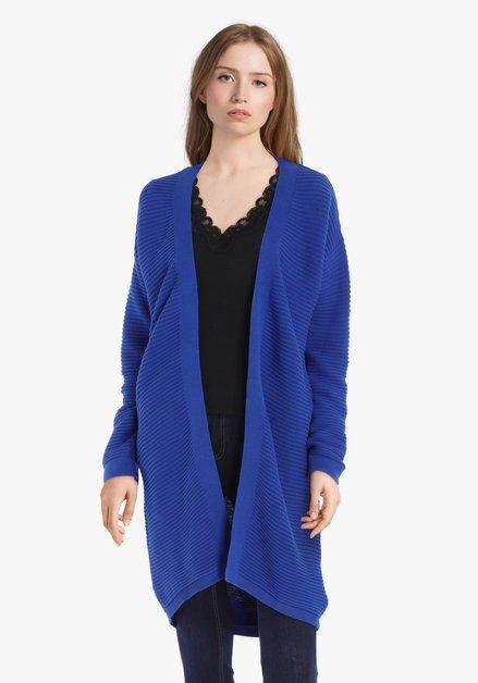 Cardigan bleu roi en coton côtelé