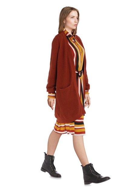 Cardigan brun foncé en tissu texturé