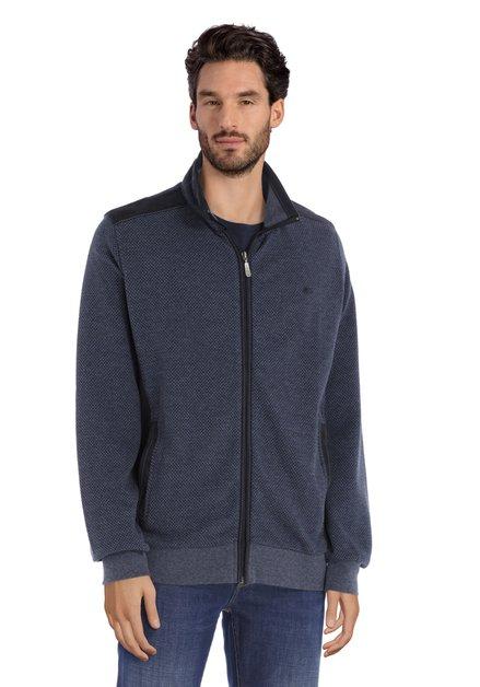 Cardigan en coton bleu marine avec faux daim