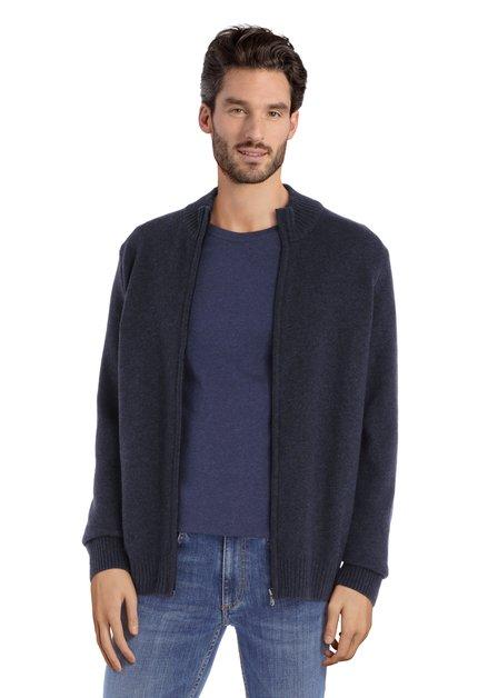 Cardigan en laine bleu marine avec tirette