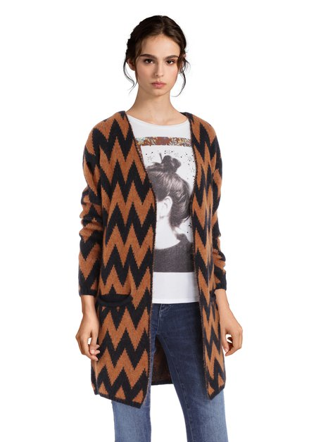 Cardigan en laine brun à imprimé noir