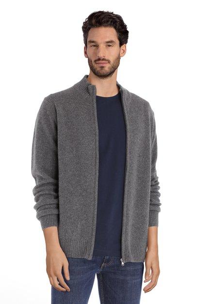 Cardigan en laine gris avec tirette