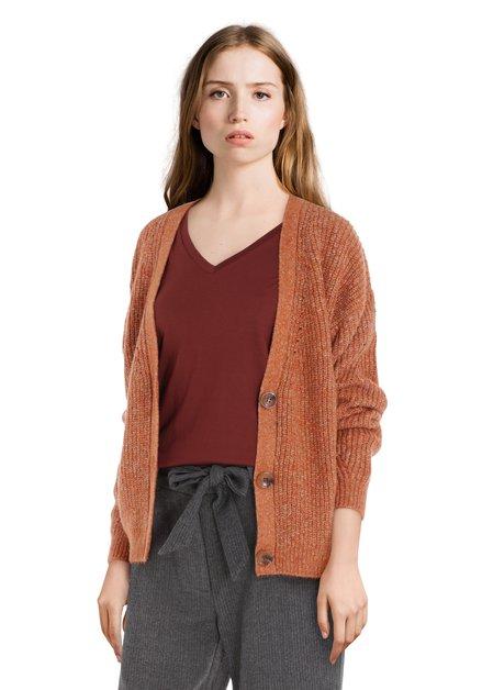 Cardigan en maille orange-brun avec col en V