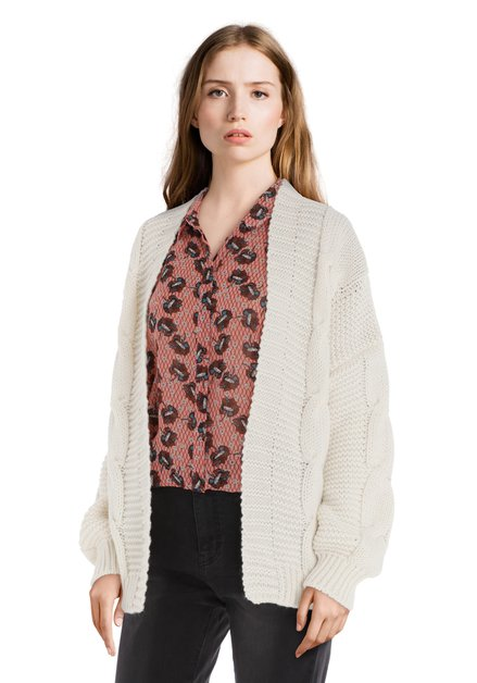 Cardigan en tricot écru