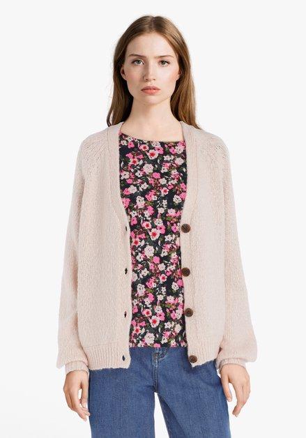 Cardigan en tricot rose clair