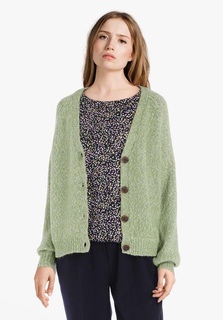 Cardigan en tricot vert clair