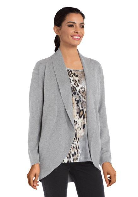 Cardigan gris clair avec tissu structuré