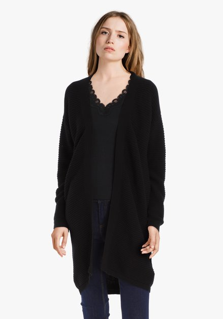 Cardigan noir en coton côtelé