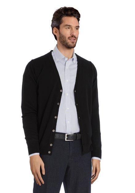 Cardigan noir en laine mérinos