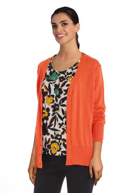 Cardigan orange avec tissu côtelé