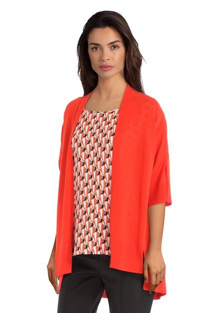 Cardigan orange-rouge à manches 3/4