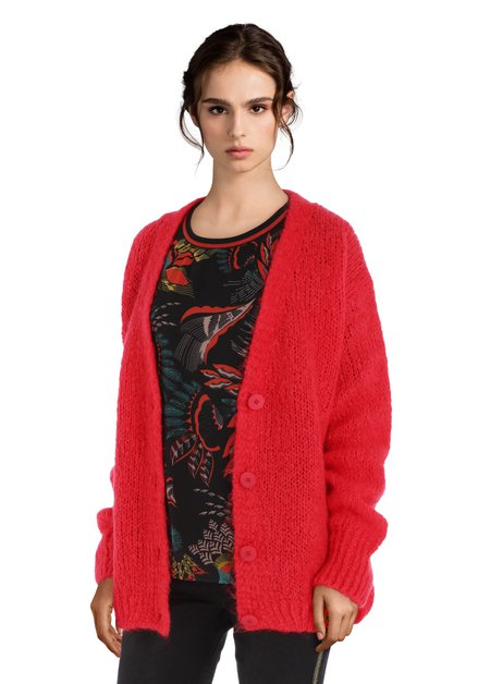 Cardigan rouge corail en laine et mohair