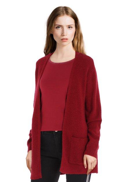 Cardigan rouge foncé en tissu texturé