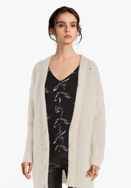 Cardigan tricoté écru