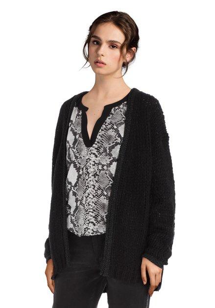 Cardigan tricoté noir avec lurex