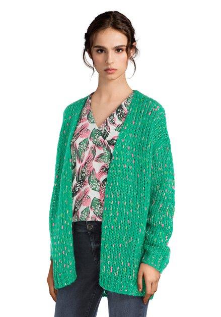 Cardigan vert avec taches colorées