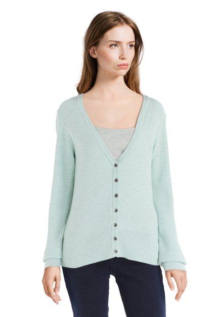 Cardigan vert clair en tricot à encolure en V