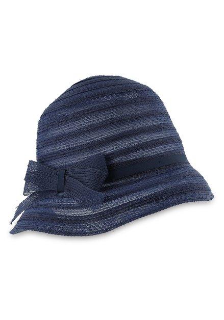 Chapeau bleu foncé avec noeud