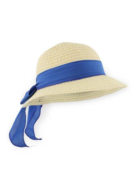 Chapeau de paille avec foulard bleu