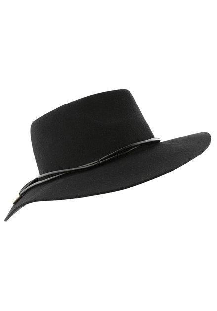 Chapeau noir à detail en similicuir
