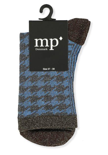 Chaussettes bleues pailletées à pied de poule brun