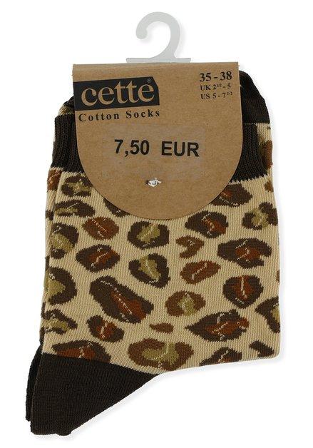 Chaussettes brunes à imprimé léopard