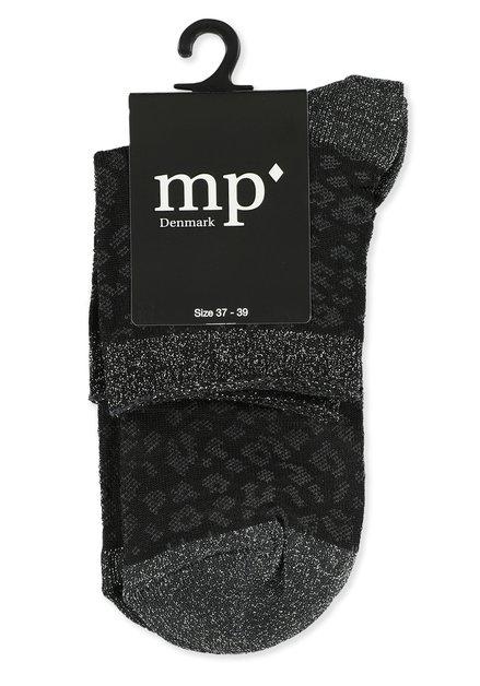Chaussettes noires pailletées à motif léopard