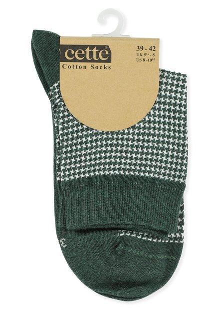 Chaussettes vertes à pied-de-poule