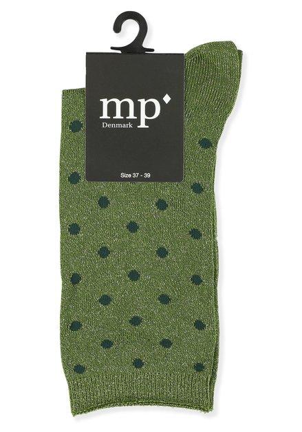 Chaussettes vertes pailletées à pois