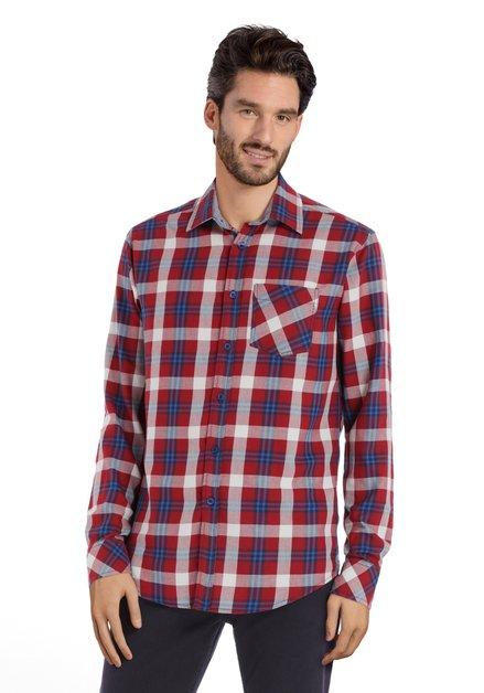 Chemise à carreaux bleu-bordeaux – regular fit