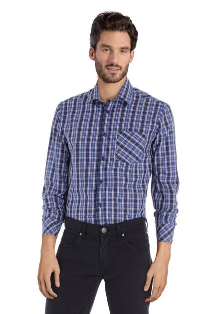 Chemise à carreaux bleu foncé - regular fit