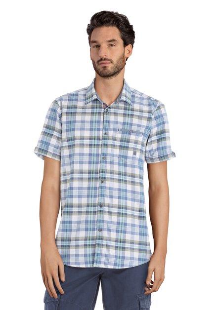 Chemise à carreaux bleus et verts