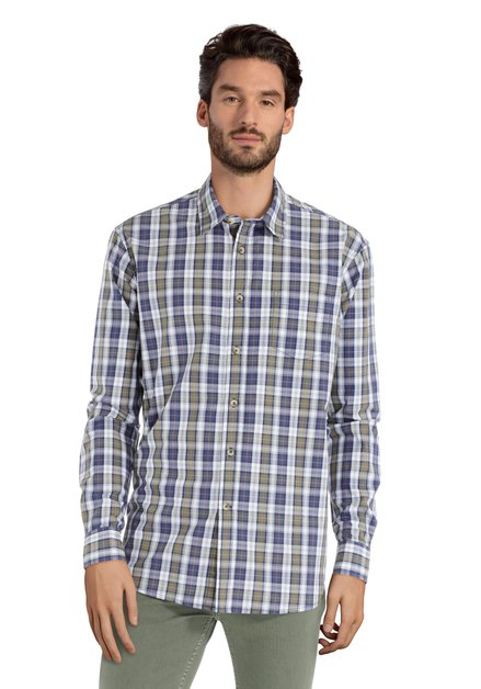 Chemise à carreaux bleus et verts - regular fit