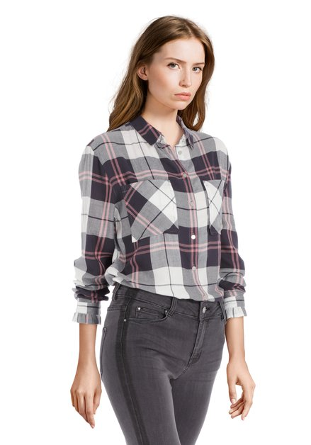Chemise à carreaux gris foncé et de rose